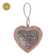 Set of 4 Metal & Wood Decorative Hanging Heart 19cm