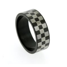 Checkered flag wedding band