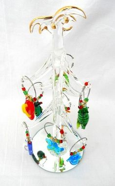 Wine Charms in a Tropical Beach Theme!  Palm Tree Christmas Tree holds these great Hand Blown Glass Wine Charms!