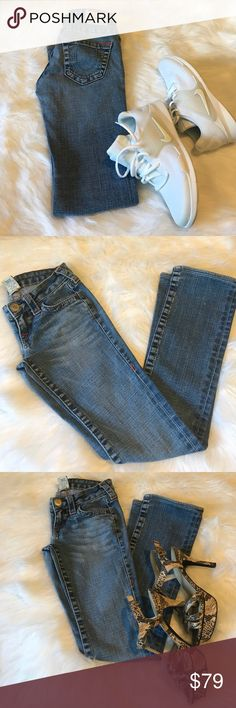 Authentic True Religion Jeans Durable jeans with orange stitch.  Shows some signs of where but these jeans are still in good condition. Stitching coming out a little around waist..please see pic. Offer welcome. True Religion Jeans Straight Leg