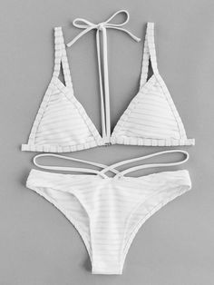 Shop Textured Stripe Halter Strap Bikini Set online. SheIn offers Textured Stripe Halter Strap Bikini Set & more to fit your fashionable needs.