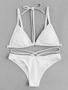 Shop Textured Stripe Halter Strap Bikini Set online. SheIn offers Textured Stripe Halter Strap Bikini Set & more to fit your fashionable needs.