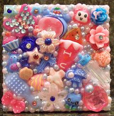 Precious Blue and Pink Deco Den Compact Mirror by DesignsByDaffney, $12.00