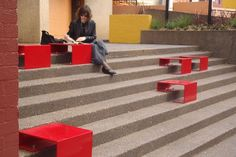 Parramatta, Australia sought a Lighter, Quicker, Cheaper means to activating an underutilized retail strip south of the city's rail station. Custom end tables transformed these steps into an inviting amphitheater, attracting the attention of passersby with bright red coloring. #Placemaking #LQC #Streets #Laneways