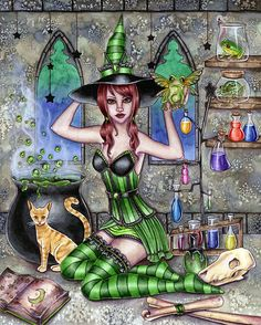 Witch Art Print - Ashlyn - 8 x 10 Alchemy Halloween Witch - Fantasy Art Print - by Nikki Burnette