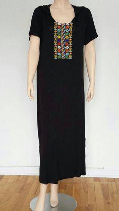 Items similar to Beautiful Handmade Black Stretch Cotton Moroccan Tunic Kaftan with Berber beading on Etsy Indian Fashion Dresses, Tribal Dress, Lace Tunic, Batik Dress, Kurta Designs, Traditional Dresses, White Lace, Nice Dresses, Short Sleeve Dresses