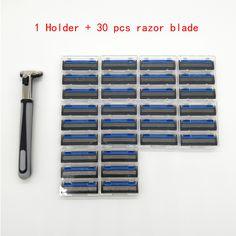 1 titular de afeitar + 30 pcs tres capas de hoja de afeitar hombres de Seguridad Mango de Afeitar 3 Cuchillas de Afeitar Condensador de Ajuste Estándar reemplazo