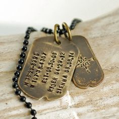 personalized vintage dog tag necklace, fathers day gift