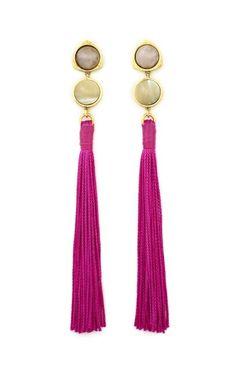 Shop Lizzie Fortunato Hibiscus Tassel Earrings at Moda Operandi