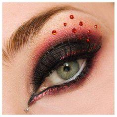 eye make up, rojo, maquillaje