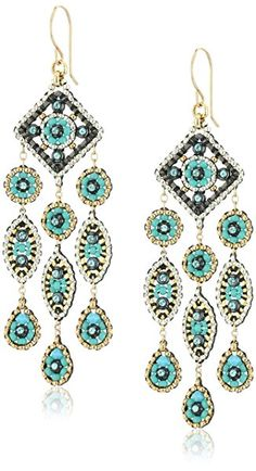 Miguel Ases Gunmetal and Turquoise Square Center Marquise Dangling Chandelier Drop Earrings