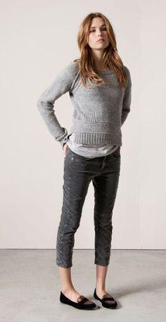 cigarette pants, grey jumper
