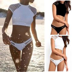 Sexy Swimwear Crop Top Mesh Size Bottom Bikini Set Swimsuit Summer Beach #Unbranded #Bikini