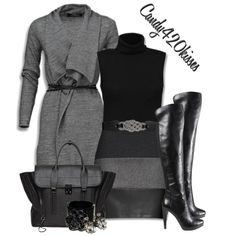 Mexx cardigan, Rollneck sweater, Knee Length Skirt*Nine West Chris Cross Boot in Black, Rope Twist Front Stretch Belt