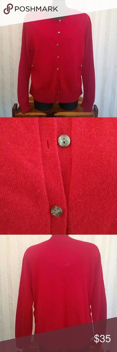 Prive 100% cashmere cardigan NWT 100% cashmere, long sleeve cardigan, red in color, very nice accent buttons, size extra large, new with tags prive Sweaters Cardigans