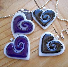 Fused Glass Heart Pendant -  black. $22.00, via Etsy.