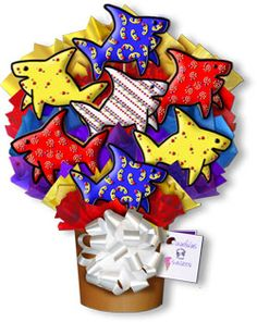 Decorated Cookies Gift | ... Decorated Cookie Bouquet Gift Arrangement Shark Tales Sugar Cookies