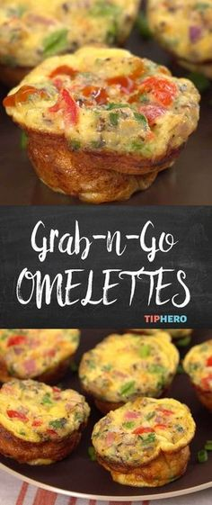 Perfect for a quick breakfast on the run, these grab-n-go omelettes bake up easy in muffin tins and are a great start for your day. Bonus - you can freeze them, so you've always got a solid breakfast on hand! #easymeals #easyrecipes #eggs