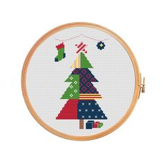 Patchwork christmas tree - cross stitch pattern - modern cross stitch pattern  merry christmas decoration xmas geometric