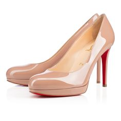 """New Simple Pump"" is a stunning update on Monsieur Louboutin's famed ""Simple Pump"" for the Spring/Summer season. The narrow, exposed platform gives this classic style a contemporary twist. This 100mm version in nude patent transitions seamlessly from daytime to evening."