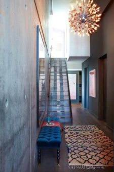 thumbs moroccan rug athena calderone interior design brooklyn Moroccan rug & soft furnishings warm up this contemporary glass & concrete entry-the light is pretty fabulous too!