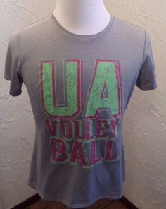 EUC Mens UA Under Armour Volley Ball T-Shirt Gray/ Red/ Green Sz Large #UnderArmour #Tee