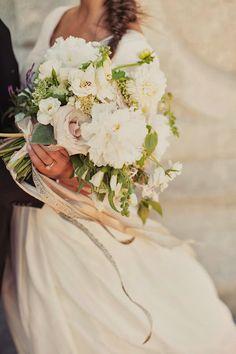 Ribboned white bouquet | Sarah Winward