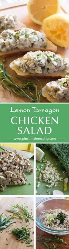 So fresh and light! Chicken salad with lemon, tarragon, and fennel is great for a springtime lunch or appetizer! | www.pinchmeimeating.com