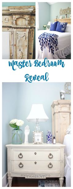 Master Bedroom Reveal. Master bedroom makeover. vintage decor in the master bedroom. Fireplace mantel headboard. Painted furniture. Aubusson Blue. White painted furniture. Rugs USA Albina Abstract Winter rug.