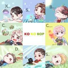 *Art not mine Kpop Exo, Exo Kokobop, Chibi Exo, Exo Cartoon, Exo Stickers, Exo Anime, Exo Lockscreen, Exo Fan Art, Ko Ko Bop