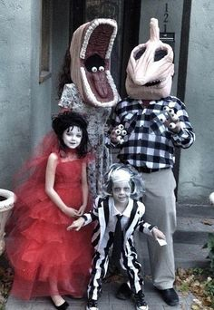 family Halloween costumes: Barbara Maitland, Adam Maitland, Lydia Deetz, and Beetlejuice ♡ ∞
