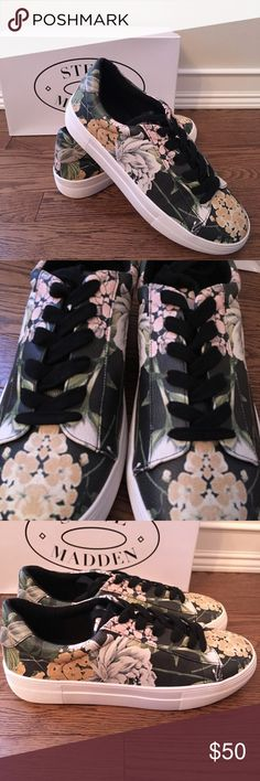 New in Box Steve Madden Gisela Floral Sneakers New in Box Steve Madden Gisela Floral Sneakers. Cute floral pattern, perfect for the coming warmer weather! Multiple sizes available. Note - bottom soles may show some minor discoloration from being tried on in store. Steve Madden Shoes Sneakers