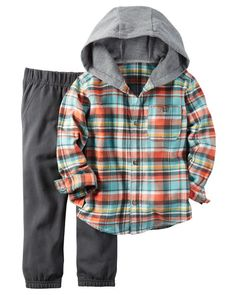 He's set for playground adventures on brisk fall days in this cozy hooded button-front and jogger set.