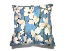 Decorative Pillow Cover Denim Blue Antiqued-White Olive Green Dogwood Toss Throw Accent Cover 16 inch on Etsy, $12.50