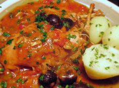 Provencal Rabbit Stew with olives & capers