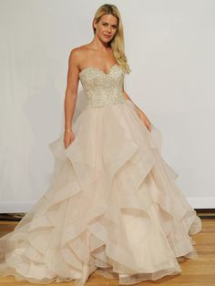 Eddy K high strapless beaded bodice and layered skirt wedding dress from Fall 2015