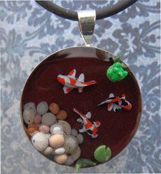 Poissons Koi Pond pendentif / collier avec par TinySculptor sur Etsy