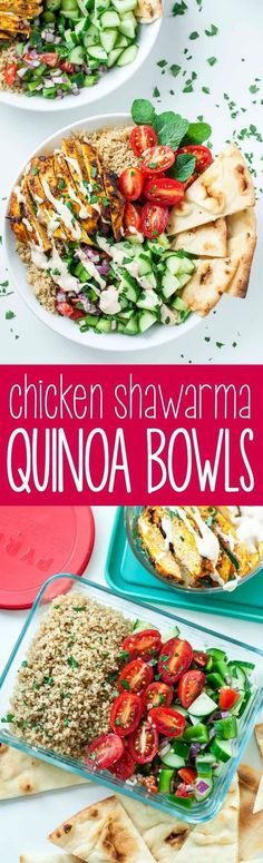 We're loving this recipe for healthy Chicken Shawarma Quinoa Bowls with a super easy hack for creating make-ahead lunches for work or school. The flavors are out of this world!! Vegetarian + Vegan versions available (mediterranean recipe pasta)
