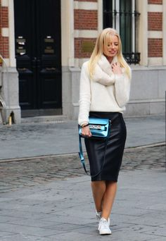 Winter Outfits with Pencil Skirts - Beautiful Winter Outfits with Pencil Skirts, Outfit Post Chambray Shirt Black Pencil Skirt Black Heels