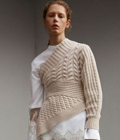 Burberry One-shoulder Cable Knit Cashmere Sweater $1,395 Colour - Natural white