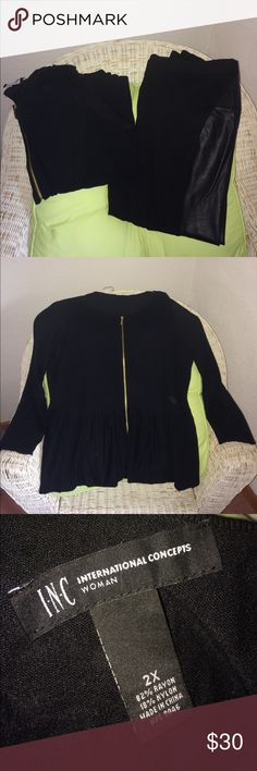 Black Peplum Sweater 2X  Black Pants 18W Gorgeous black Peplum Sweater Size 2X NWOT and  a pair of faux leather inset pants. Size 18W both are INC International Concepts brand. The sweater is black Peplum and features a goldtone zip front. Rayon/Nylon . The sweater is 2X Maternity but you don't have to be expecting to enjoy this sweater! The gorgeous Pants feature non leather inset sides. They are a rayon, nylon, spandex blend- plenty of Stretch Size 18W ! Wore once before I lost weight…