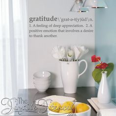 Get instant gratification with this beautiful vinyl wall lettering decal. The word gratitude defined is a wonderful way to inspire more gratitude and thanksgiving in your life.