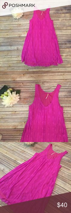 """Free People Magenta Lace Dress Free People Magenta Lace Dress.  In excellent condition.  Bust 36"""" Length 37"""" Free People Dresses"""