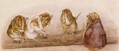 Guinea pigs gardening by Beatrix Potter