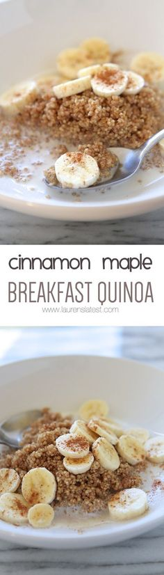 Microwave Cinnamon Maple Breakfast Quinoa A Quick And Healthy Breakfast For The Whole Family Top It With Bananas And Cinnamon For The Ultimate Breakfast Treat Filling, Rich In Protein And A Nice Change From Oatmeal Breakfast Bowls, Breakfast Recipes, Breakfast Ideas, Quinoa Breakfast Bars, Banana Breakfast, Breakfast Healthy, Sweet Breakfast, Breakfast Dessert, Perfect Breakfast