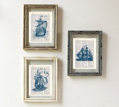 Vintage Clipper Ships Art Print Set   Nautical by WillowAndOlive