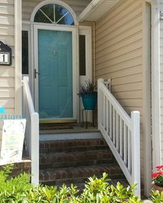 Lowes Fresh Basin paint color. Aqua front door says summer to me!