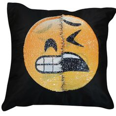 Reversible Sequin Mermaid Pillow Emoji Expression Cover Smile Face Cushion Decor