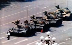 Tiananmen Square - single unarmed Chinese man protests against Chinese tanks 1989