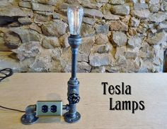 FAUCET HANDLE DIMMER! Black iron pipe lamp, faucet dimmer, electric outlet, antique style bulb, cloth cord - one of a kind!  $175